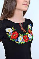 Традиционная футболка вышиванка женская из качественного трикотажа с маками