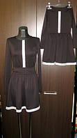 Комплект одинаковых платьев мама и дочка черного цвета с белым кружевом