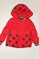 Курточка утепленная на девочку красная на 1-1.5 года