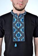 Стильная мужская вышиванка с коротким рукавом с оригинальным орнаментом