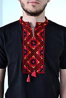 Качественная футболка вышиванка в черном цвете с этническим орнаментом красного цвета