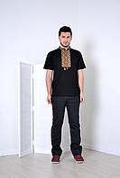Красивая мужская футболка вышиванка в черном цвете с орнаментом