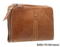 Женский кошелек из натуральной кожи на кнопке коричневый