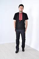 Красивая мужская футболка вышиванка в украинском стиле с орнаментом и надписью Слава Украине