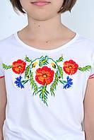 Красивая детская футболка вышиванка для девочки с маками