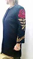 Пальто демисезонное черное женское вышивка пайетками
