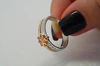 Кольцо из серебра 925 пробы с золотом и камнем