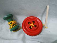 Шнуровка деревянная Пуговица,катушка,иголка