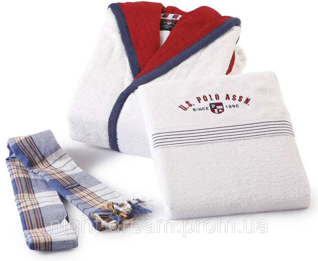 Набор махровый халат + 3шт. полотенец U. S. POLO ASSN  NEBRASKA M/L