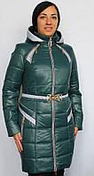 Молодежная куртка на силиконе с поясом бутылочного цвета, размер 48, Весна!