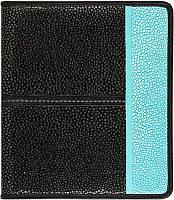 Визитница из шлифованной кожи ската NB 23 SA Black/Turquoise