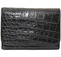 Кошелёк из кожи крокодила (сиамский крокодил, живот) PCM 63 B Black