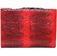 Кошелёк из кожи морской змеи.EXCLUSIVE SN 85 Fire red