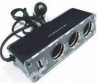 Тройник для прикуривателя с USB 0096 разветвитель +USB зарядное