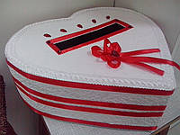 Свадебный сундук для подарочных денег (бело-красный)