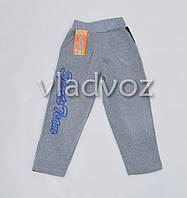 Утепленные спортивные штаны для мальчика 4-5 лет светло серые