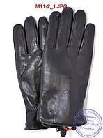 Мужские кожаные перчатки зимние на меху из натуральной овчины - №M11-2