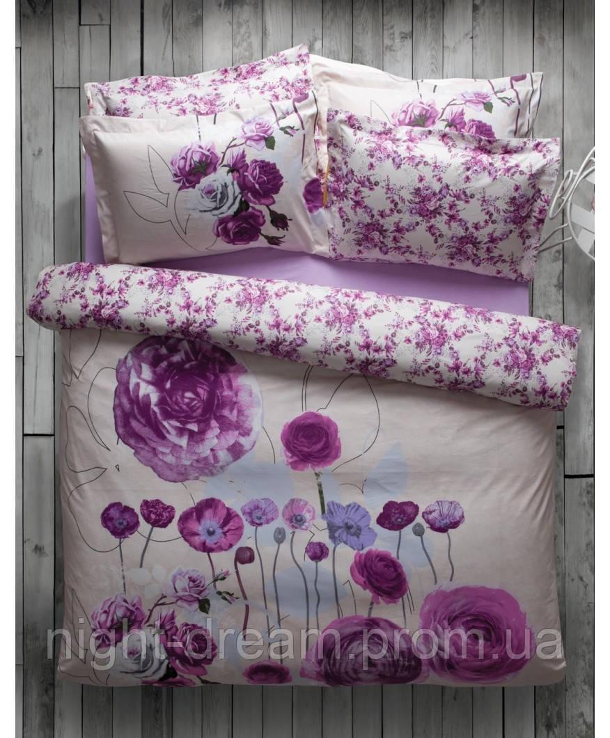 Полуторное постельное белье KARACA HOME  JAMMY с лиловыми маками