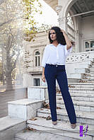 """Синие женские брюки большого размера """"Классика"""""""