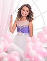 Волшебное детское платье многослойное юбкой и нежной аппликацией со стразов