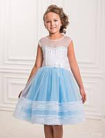 Обворожительное детское платье за  колено с вышивкой с бисера