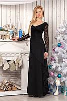 Платье 829 черное с гипюровой отделкой длинное в пол с облегающим верхом и юбкой с косым воланом