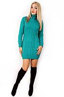 Платье туника вязанная 1454, вязанное платье, теплое вязаное платье, короткое, дропшиппинг