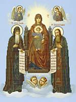 Схема  для вышивания бисером Печерская Икона Пр. Богородицы с предстоящими Антонием и Феодосием КМИ 3037