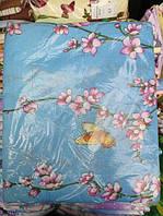 Постельное белье полуторное Инесс голубое с цветочками