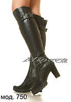 Ботфорты зимние или демисезонные на высоком каблуке натуральная кожа