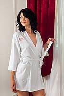 Женский махровый халат. П24 500102. С вишивкой.
