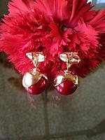 Серьги шары Dior красные глянцевые с золотыми вставками и кристаллами имитация Сваровски