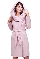 Роскошное кашемировое пальто модного кроя с капюшоном под пояс в расцветках