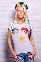 """Женская белая патриотическая футболка """"Made in Ukraine"""""""