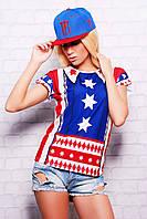 """Стильная женская футболка """"Америка"""", есть большие размеры (батал)"""
