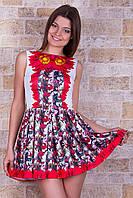 Летнее короткое платье с пышным низом