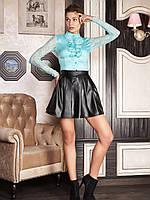 Женская блуза голубая, деловой, офисный стиль