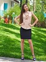 Женская блуза бежевая с коротким рукавом, деловой, офисный стиль