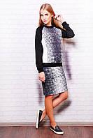 Модный повседневный костюм, кофта-свитшот, юбка до колен