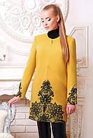 Женское пальто с кружевами осеннее желтое