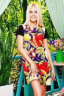 Свободное летнее платье короткое, цветочный узор