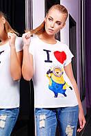 """Белая футболка женская """"Миньон 2"""" (большие размеры)"""