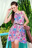 Цветочное женское платье на лето из шифона