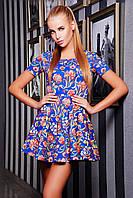 Платье женское летнее синее с принтом, короткая пышная юбка