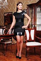 Коктейльное черное платье с кожаными вставками