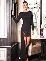 Черное платье вечернее со шлейфом украшено кружевом