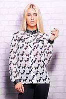Женская шифоновая рубашка с кожаными вставками Собака в тельняшке