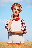 Женская белая блузка с украинским орнаментом