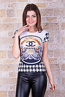 """Модная летняя футболка для девушек """"Шанель"""""""