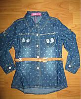 Джинсовая рубашка для девочек S&D  1,2,3 лет.